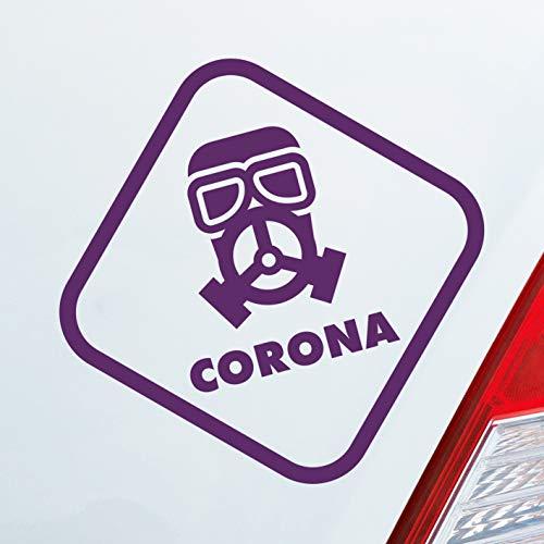 Auto Aufkleber Corona Maske Gasmaske Bio Hazard Krank Infiziert Husten Sticker Lila