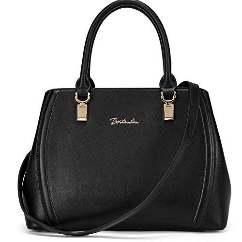 Muttertagsgeschenk BOSTANTEN Damen Leder Handtasche Schultertasche Umhängetasche Elegante Henkeltasche Tote Bag Schwarz