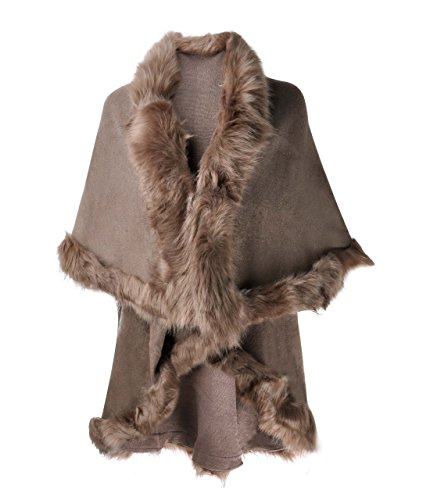 ZLYC Damen Cardigan Poncho Cape aus Feinstrick mit Kunstpelz Zierstreifen Schichten Gr. One size, khaki