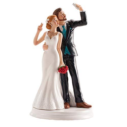 dekora- Decorazione per Torta Nuziale, Statuette di sposi Selfie, 20 cm, Bianco, 305065