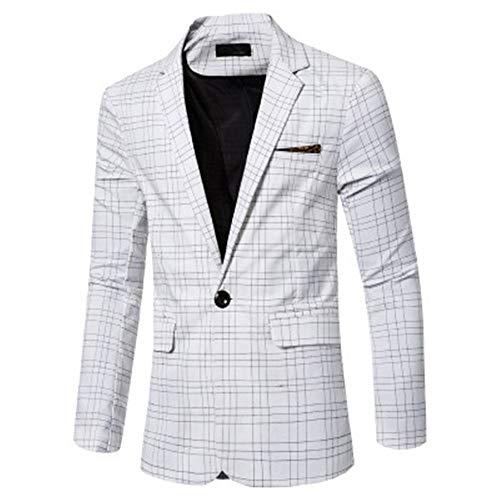 qishi Herren-Blazer, einreihig, schmale Passform, Freizeitkleidung, Business-Jacke, kariert, Freizeitkleidung Gr. Medium, weiß
