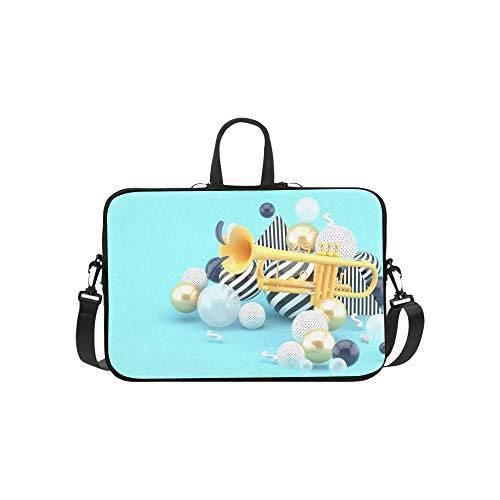 Laptop Umhängetasche Umhängetasche Tasche Notebook Griff Hülse Neopren Soft Carring Tablet Reisetasche, Orange Trompete inmitten Goldener Kugel auf Laptop Handtaschen 14