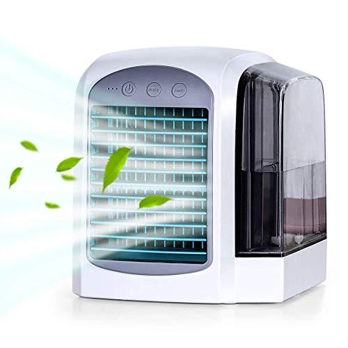 iLogoTech Aggiornato 3 in 1 Mini Condizionatore Portatile, Raffrescatore d'aria Evaporativo, Aria Cooler, Umidificatore, Purificatore per Casa, Ufficio, Camera da letto, All'aperto (3 velocità)