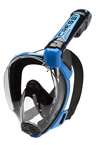 Cressi Duke Dry Full Face Mask Mascara de Buceo Snorkel Seca Cara Completa, Unisex Adulto, Negro/Azul, M/L