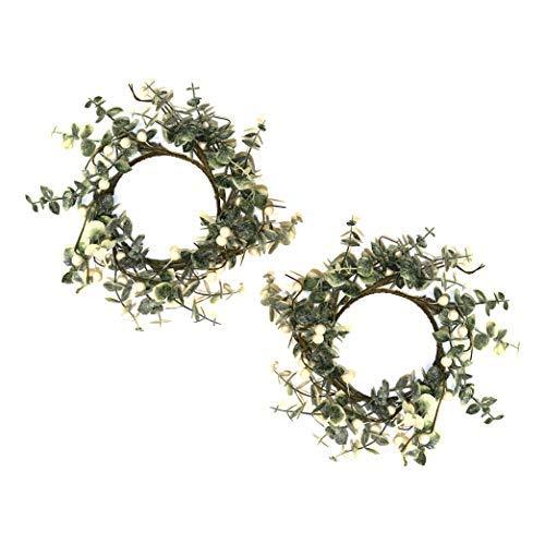 by Robelli - Juego de 2 coronas pequeñas para colgar de Navidad, diseño de hojas y bayas blancas (25 cm)