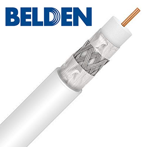 Belden 1613AP, Plenum Rated RG6 Coaxial Cable 18 AWG 75 Ohm Commercial Grade, Audio Video Broadband Internet CATV Coax, UL ETL CMP (1000ft, White)