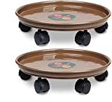 Murilan 2 Pack 14 inch Plant Caddy, Planter Dolly on Wheels Round Flower Pot...