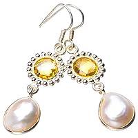 天然の琵琶真珠とシトリン手作りの925スターリングシルバーイヤリング4.9cm D7835