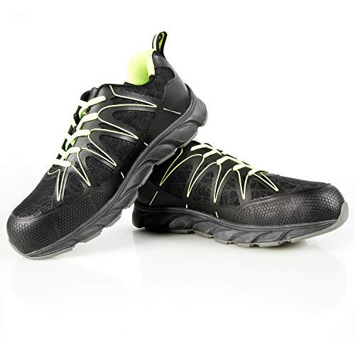 CCLIFE Sicherheitsschuhe S3 Herren Damen Arbeitsschuhe Schutzschuhe Wasserdicht Leder Stahlkappe Leichtgewicht rutschfeste Schuhe, Größe:46, Farbe:Schwarz&Grün