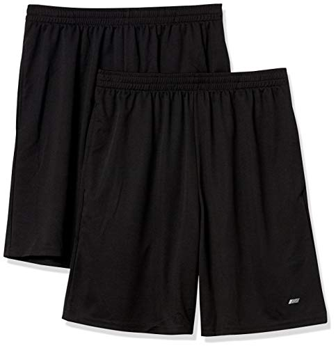 Amazon Essentials Men's 2-Pack Loose-Fit Performance Shorts, Black/Black, Small