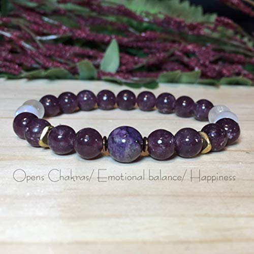Womens 8mm Genuine Sugilite Bracelet, Lepidolite Bracelet, Rainbow Moonstone Bracelet, Healing Bracelet, Emotional Balance, Opens the chakras