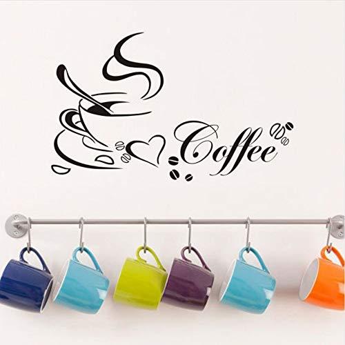 Kaffeetassen vinyl wandtattoo zitat wohnkultur wohnzimmer diy diy wandbild entfernbare wandaufkleber 65x40 cm