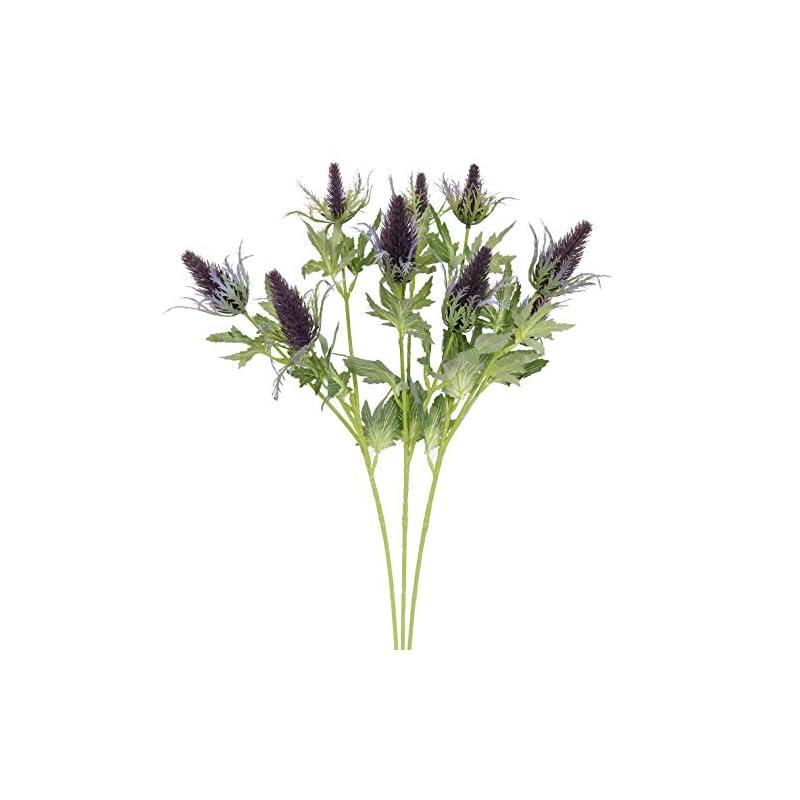 silk flower arrangements xilyya 3pcs artificial thistle single spray (3 heads) craft flowers (purple)