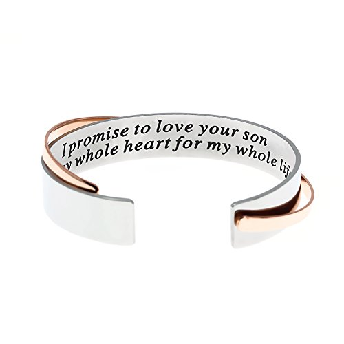 MS. CLOVER Mother of The Groom Gift, I Promise to Love Your Son with My Whole Heart for My Whole Life Stainless Steel Bracelet. Wedding Bangle Gift.