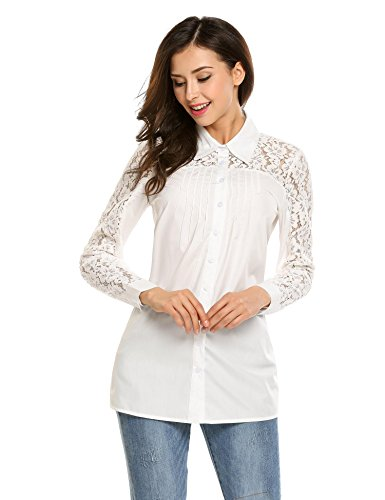 Women White Lace Blouse Button Down Shirts Casual Office Long Sleeve Tops