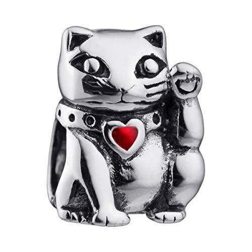 MATERIA Beads Anhänger Katze Glücksbringer 925 Silber antik mit Emaille Herz rot für Damen Mädchen Armband 1564