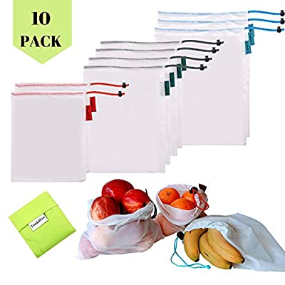 ToadalEco Reusable Mesh Produce Bags – Set of 9 Heaviest Duty, Zero Waste Washable RIP STOP Mesh Bags with Drawstrings-3 Large, 4 Medium & 2 Small Veggies & Fruits Bags & 1 Shopping Grocery Tote