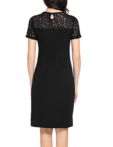 Zeagoo Damen Elegant Rundhals Kleid Partykleid Etuikleid Sommerkleider Kurzarm mit Spitzen am Rücken Schwarz XL