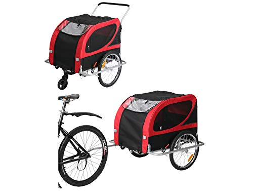 Leonpets Remorque de vélo et poussette pour chien - Large taille - Avec frein à suspension - 10403 - Rouge
