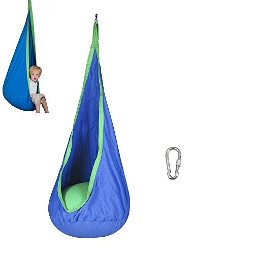 Quarice Childrens Rocking Hammock Hanging Chair - Child Kids Pod Swing Chair Tent for Indoor Outdoor Hanging Seat Inflatable Hammock (Blue)