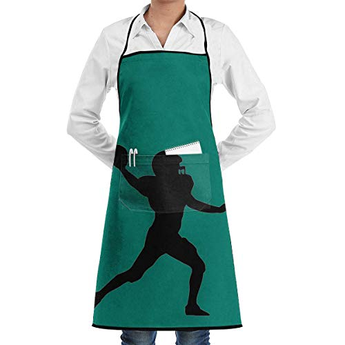 Schürze Grillschürze und Kochschürze Küchenschürze American Football Spieler zum Kochen oder Backen mit Nackenriemen Und Mit Zwei Taschen