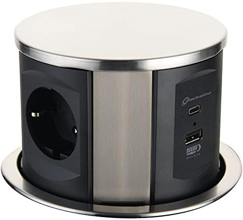 Electraline 62571 Regleta Base Múltiple retráctil para escritorio/mesa Toma empotrada con 3 tomas Schuko + 2 USB 3.1A (1 tipo A + 1 tipo C) 15.5W, Diámetro 120 mm, cable 2M, Negro
