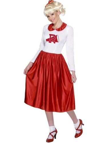Smiffys- Licenciado Oficialmente Disfraz de Sandy de Grease, Rojo y Blanco, con Vestido, Color, M - EU Tamaño 40-42 (Smiffy'S 29797)