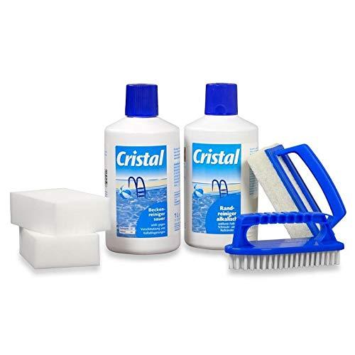 POOL Total Cristal Set für die gründliche Poolreinigung/Schwimmbeckenreinigung Poolpflege- Set, Beckenreiniger, Poolbürste, Reinigungsschwamm