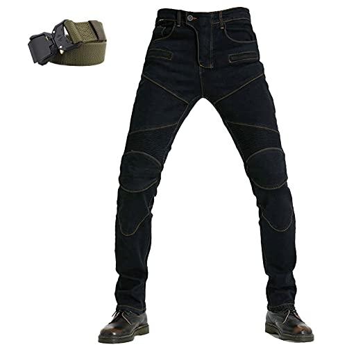 YCDZSW Hombre Motocicleta Pantalones Moto Jeans Pantalones De Moto,jeans De Motocicleta Clásicos,4 X Equipo De Protección (Negro,XS)