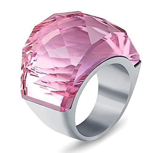 BVGA Anillo retro para hombre y mujer, de acero de titanio noble con incrustaciones de piedras preciosas n.º 10, anillo rosa para mujeres, niñas, hermanas, amigas, regalo significativo de joyería