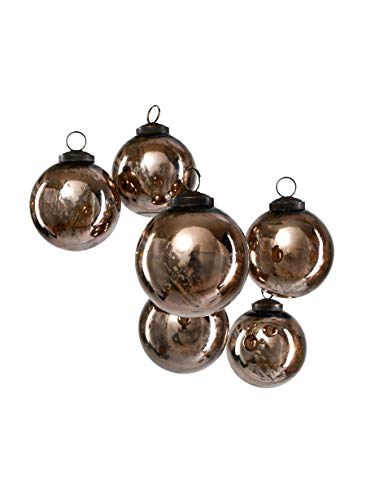Serene Spaces Living Set of 6 Decorative Antique Bronze Mercury Glass Ball Ornament for Window Box, Ornaments for Holiday Décor, Measure 4' Tall and 3' Diameter