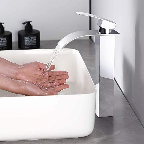 WOOHSE Wasserfall Wasserhahn Bad Hoch, Waschtischarmatur für Waschbecken, Waschtisch, Badezimmer, Einhandmischer Waschtischbatterie Wasserfall-Armatur Chrom, WHGX7010