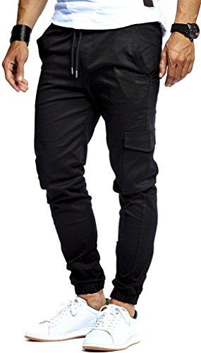 Leif Nelson Herren Jogger Chino Cargo Jeans Hose Freitzeithose LN8071; Größe XL; Schwarz
