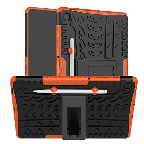 SZCINSEN Tablet Cover per Samsung Galaxy Tab S6 Lite/P610/P615 Texture Pneumatico TPU+PC Custodia Protettiva con Maniglia Pieghevole Stand (Colore: Arancione)