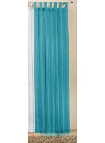 Transparente einfarbige Gardine aus Voile, viele attraktive Farbe, 245x140, Türkis, 61000