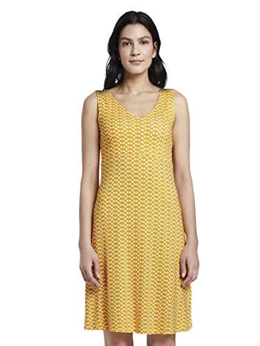 TOM TAILOR Damen Kleider & Jumpsuits Gemustertes Kleid mit V-Ausschnitt Yellow dot Design,34