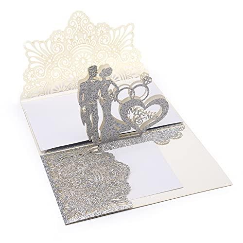 Moocuca Carte pop-up de mariage,...