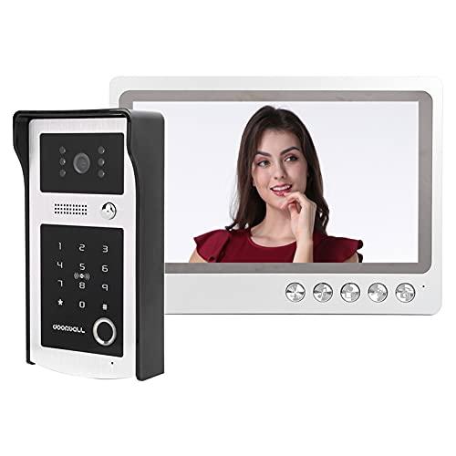 Videoportero Sistema de videoportero con videoportero de 9 pulgadas Monitor LCD Cámara Videoportero Kits, Soporte de huella digital Tarjeta IC Desbloqueo remoto, Visión nocturna(UK plug)