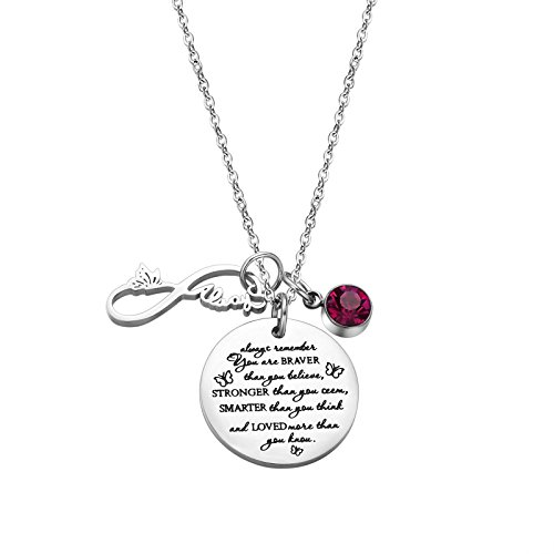 Fullrainbow You are Braver Than You Believe Stainless Steel October Birthstone Necklace Gift for Girls