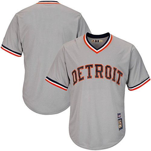 VF Detroit Tigers MLB Mens Majestic Cool Base Cooperstown V Neck Jersey Gray Big & Tall Sizes (XLT)