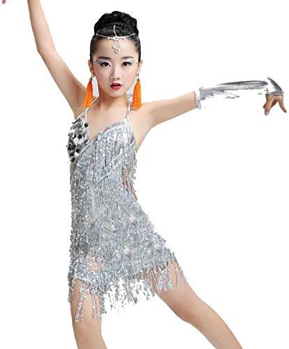 Nvfshreu Pailletten Fransenkleid Tanz Gold Latin Fur Kostume Wettbewerb Madchen Salsa Einfacher Stil Kleider Mit Quasten Samba Kleidung Kinder Ballsaal (Color : Weiß, Einheitsgröße : 150)