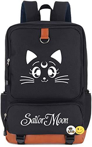 Roffatide Anime Sailor Moon Luna Cat Tsukino Usagi Printed Backpack Luminous Schoolbag Laptop Rucksack Dayback Black