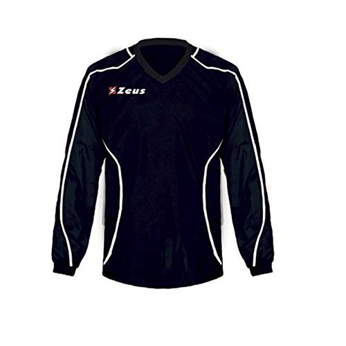 Zeus K-way Eko Fauno Blu-Royal Corsa Sport Uomo Pioggia Running jogging Allenamento Relax Calcio Calcetto Impermeabile Scuola Sport, NERO-BIANCO, YS
