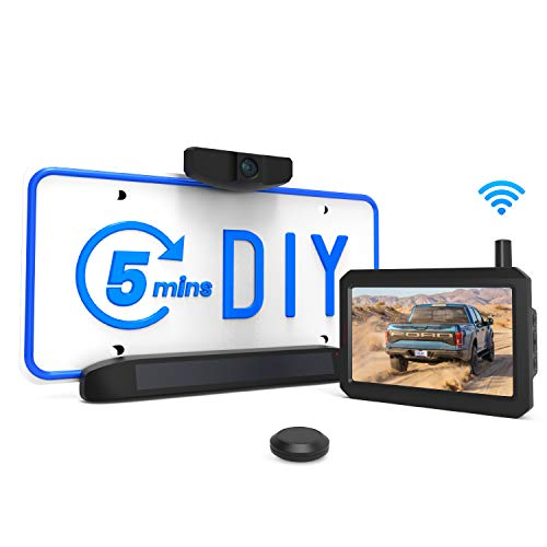 Solar Wireless Backup Camera Kit, 5 Mins DIY Installation, 5-inch Monitor and...