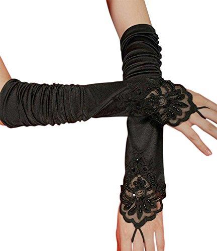 iLoveCos Lange Fingerlose Elastischer Spitze Braut Handschuhe 1920er Zubehör Flapper Kostüm für Frauen (Black)