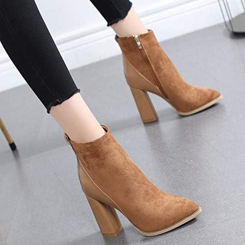 HRCxue zapatos de la Corte zapatos Puntiagudos de tacón Alto con botas Cortas, zapatos de algodón para mujeres y botas Martin de Terciopelo, 36, Caqui