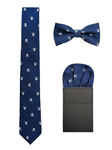 Hombre 6cm Corbata & Pajaritas & Pañuelo de Bolsillo 3 en 1 Set Moda Casual Cool - Calavera Patrón Azul Marino