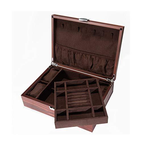 WERCHW Caja de joyería de madera, caja de joyería con espejo, caja de joyería bloqueable, caja de regalo, gabinete de la joyería de escritorio, usado para pendientes, anillos, collares, pulseras, relo