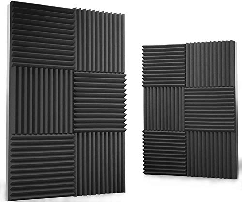 Acoustic Panels 12 pack Acoustic Foam Panels Soundproof Studio foam Sound Dampening noise Sound Deadening foam Sound Panels wedges Sound Proof Sound Insulation Absorbing (Black)