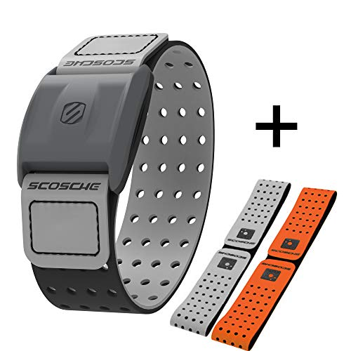Scosche Rhythm+ Heart Rate Monitor Armband- Optical Heart Rate Armband Monitor with Dual Band Radio ANT+ and Bluetooth Smart - Bonus Pack Includes Additional Free Armband (Gray)